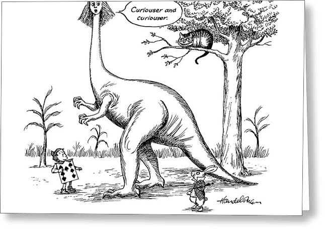 Allosaurus In Wonderland Greeting Card by J.B. Handelsman