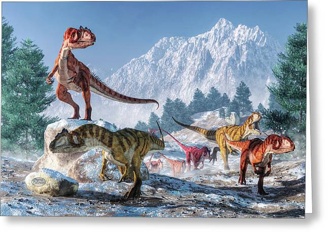 Allosaurus Pack Greeting Card