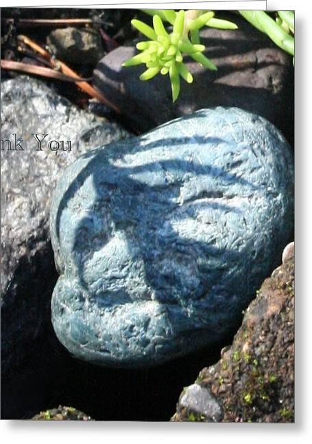 Allyn's Blue Happy-face Rock And A Reminder To Utter The Words Thank You. Greeting Card
