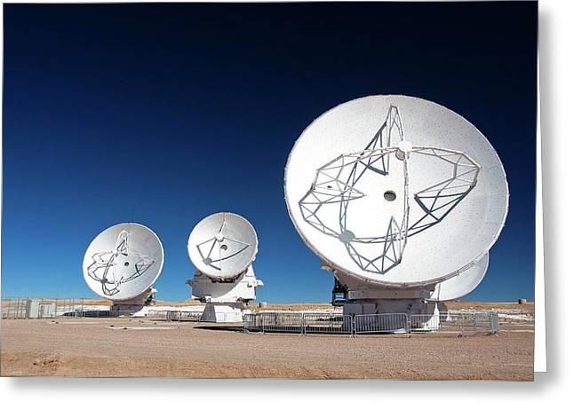 Alma Radio Astronomy Observatory Greeting Card by Alma (eso/naoj/nrao), W. Garnier (alma