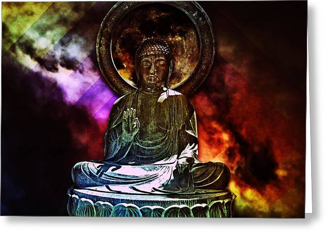 Almighty Buddha Greeting Card by Cedric Darrigrand