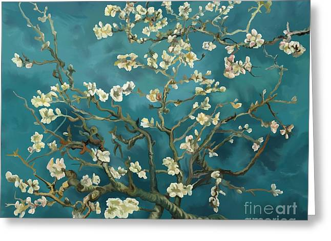 Greeting Card featuring the painting Almond Blossoms' Reproduction by Tim Gilliland