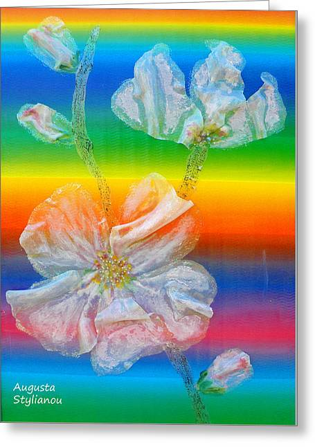 Almond Branch In The Spectrum Greeting Card by Augusta Stylianou