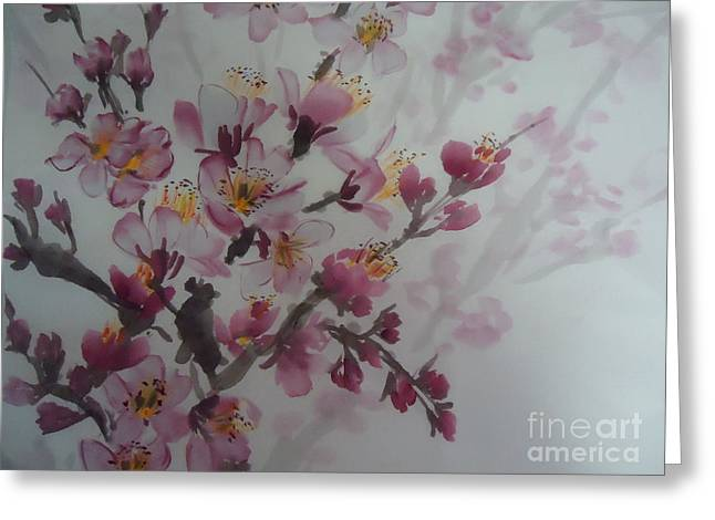 Greeting Card featuring the painting Almond Flower by Dongling Sun
