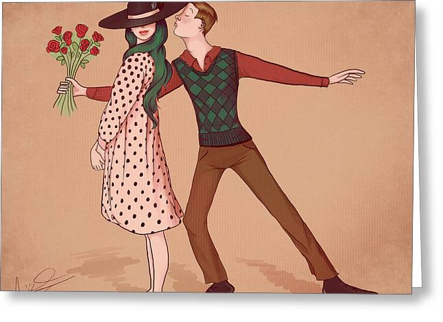 Almost A Kiss Greeting Card by Abigail Kraft