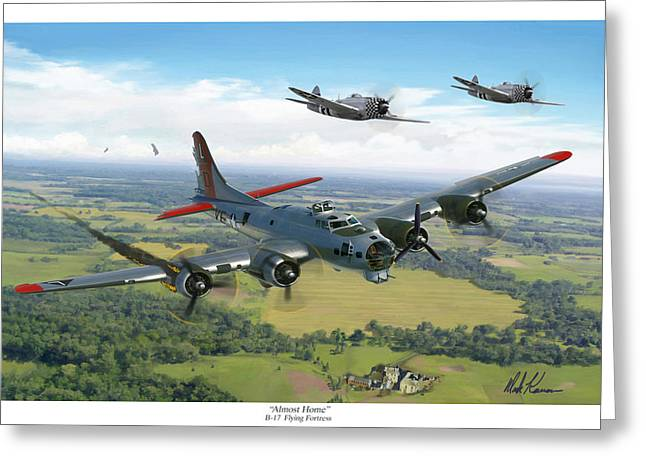 Almost Home  B-17 Flying Fortress Greeting Card by Mark Karvon