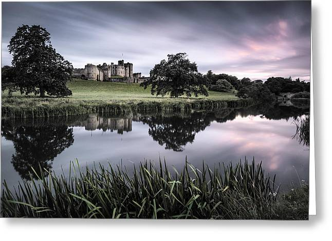 Alnwick Castle Sunset Greeting Card by Dave Bowman
