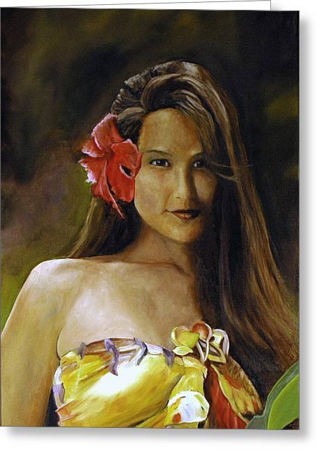 Greeting Card featuring the painting Aloha by Rick Fitzsimons