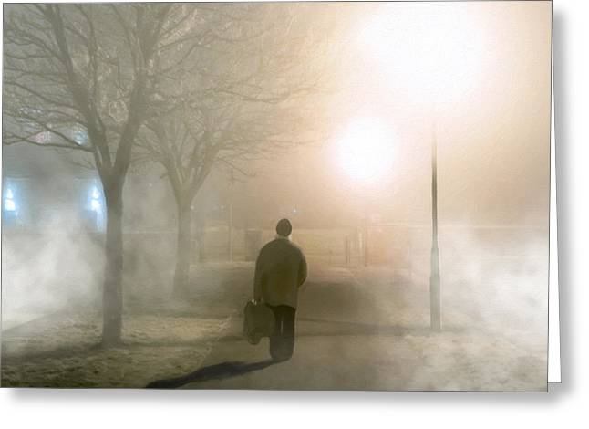 Alone In The Fog In Galway Greeting Card by Mark E Tisdale