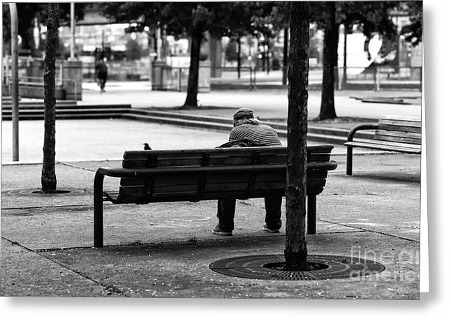 Alone In The Park Mono Greeting Card