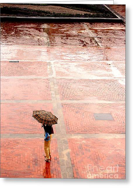 Alone In The Rain Greeting Card by Michal Bednarek