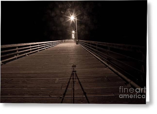 Alone On The Pier Greeting Card by Ron Hoggard
