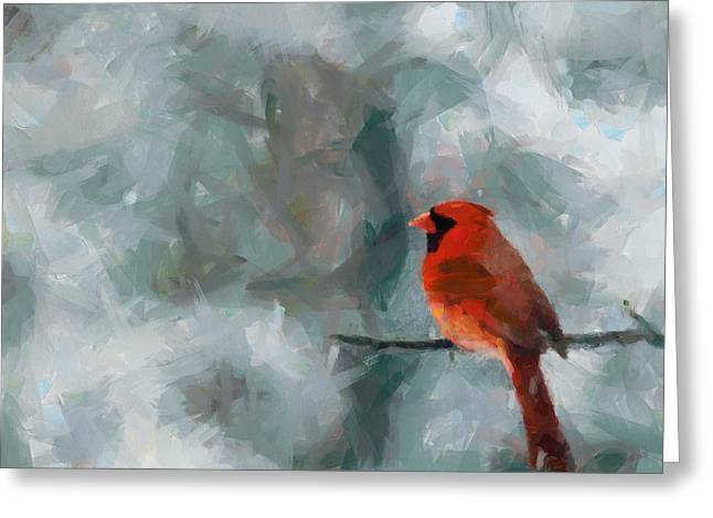 Alone Red Bird Greeting Card