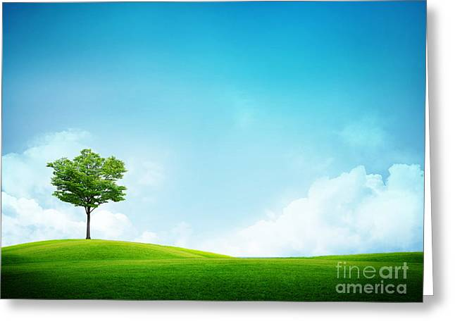 Alone Tree Greeting Card by Boon Mee