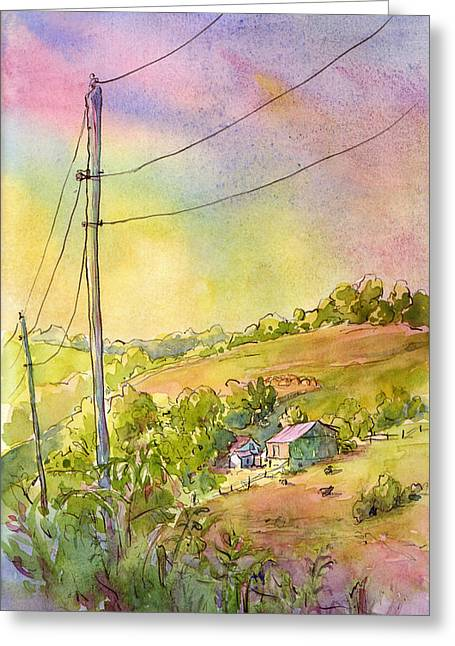 Along Craynes Run Road Greeting Card by Leslie Fehling