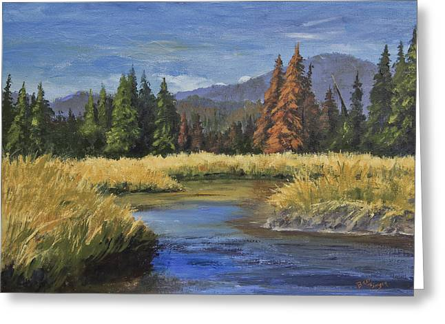 Along The Big Thompson Greeting Card by Bev Finger