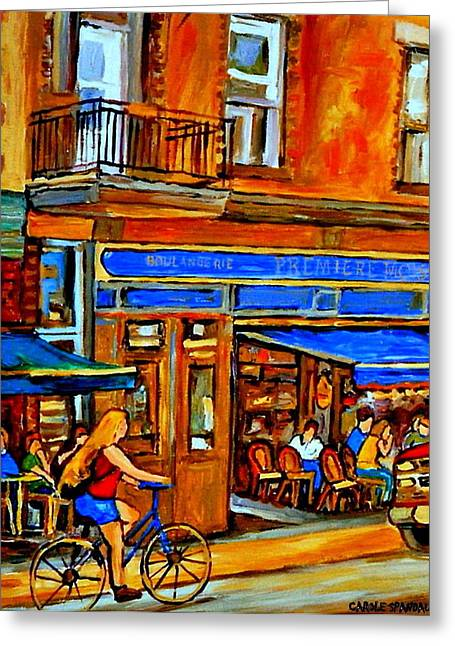 Along The Bike Path Blonde Girl Cycles Past Montreal Cafe Scene Memories Of Summertime In The City Greeting Card by Carole Spandau