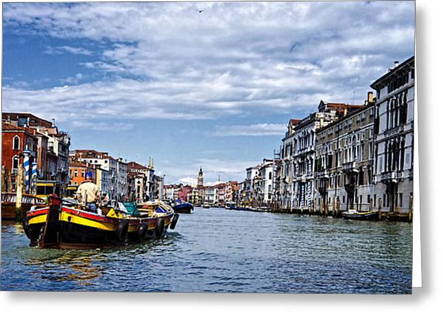 Along The Canal - Venice Greeting Card by Jon Berghoff