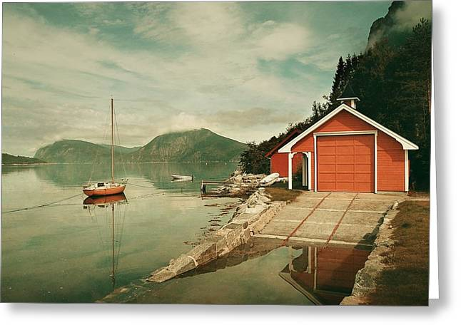 Along The Fjord Greeting Card
