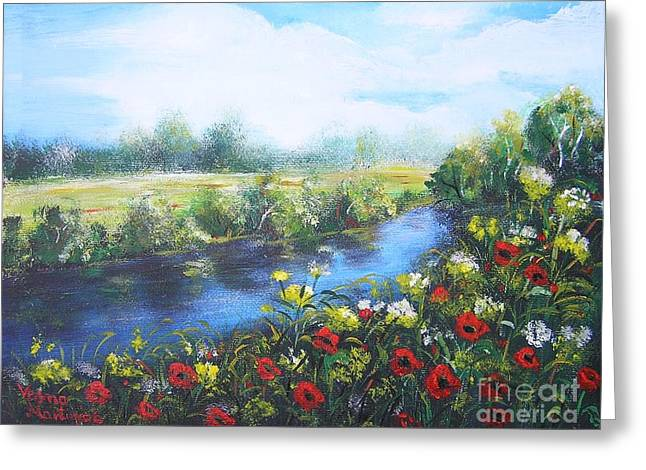 Greeting Card featuring the painting Along The Poppy Valley by Vesna Martinjak