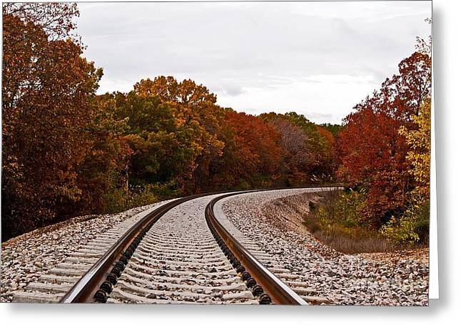 Along The Rails Greeting Card by Julie Clements