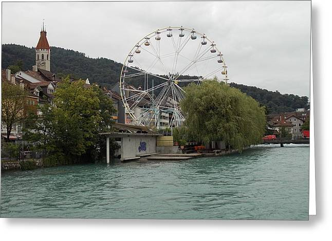 Along The River In Thun Greeting Card