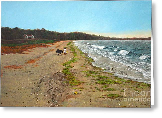 Along The Shore In Hyde Hole Beach Rhode Island Greeting Card by Christopher Shellhammer