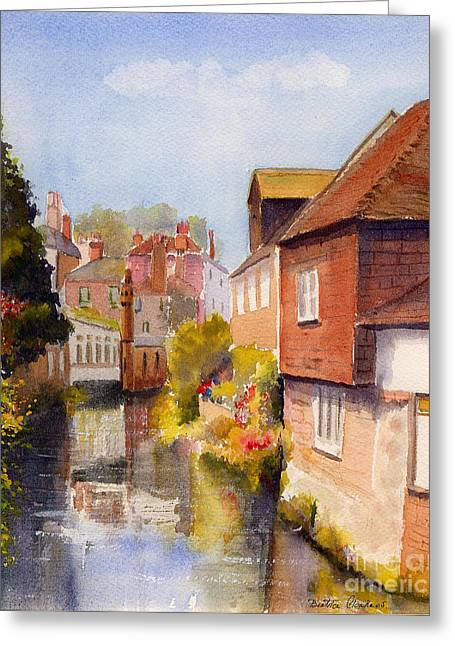 Greeting Card featuring the painting Along The Stour Canterbury by Beatrice Cloake