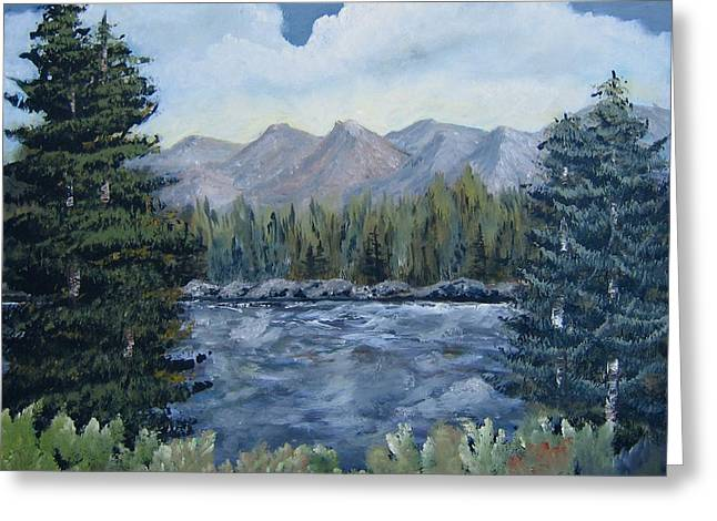 Greeting Card featuring the painting Along The Way by Suzanne Theis