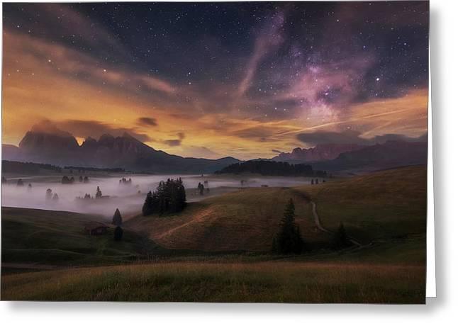 Alpe Di Siusi At Night Greeting Card