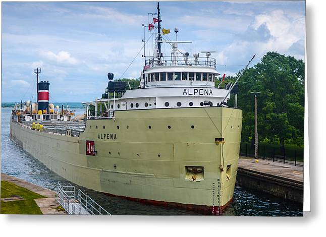 Alpena Upbound At The Soo Greeting Card