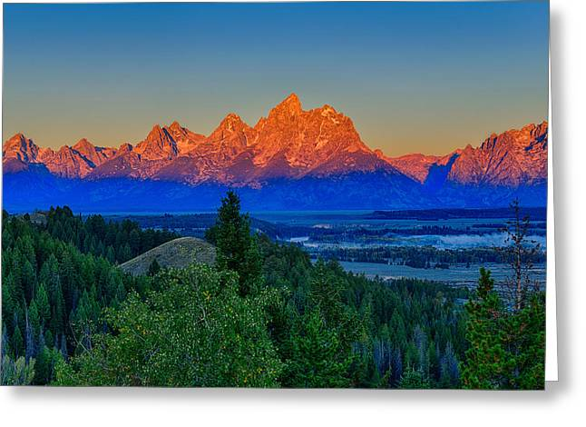 Alpenglow Across The Valley Greeting Card