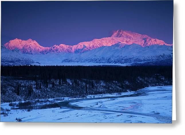 Alpenglow On Mt. Mckinley And Mt Greeting Card