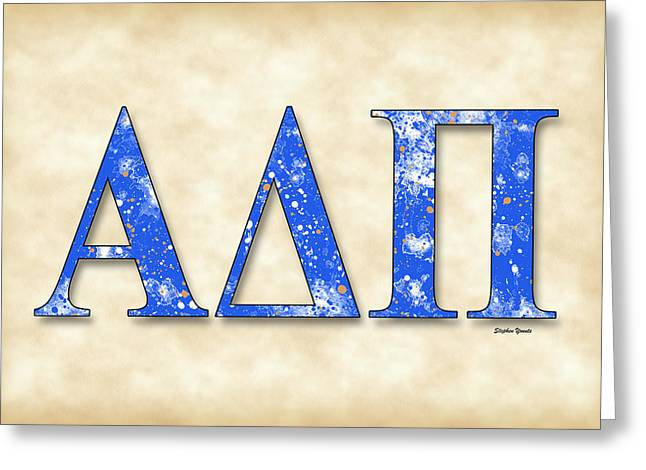 Alpha Delta Pi - Parchment Greeting Card by Stephen Younts