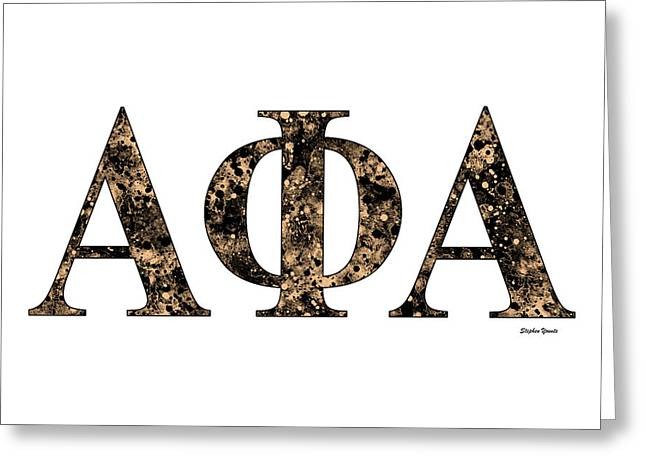 Greeting Card featuring the digital art Alpha Phi Alpha - White by Stephen Younts
