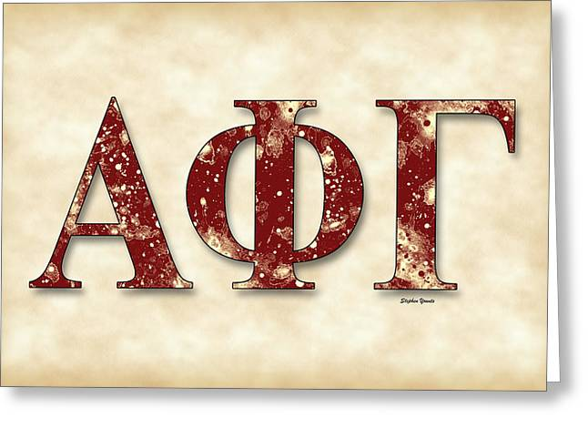 Alpha Phi Gamma - Parchment Greeting Card by Stephen Younts