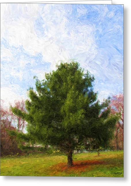 Greeting Card featuring the digital art Alpha Spring Pine by Spyder Webb