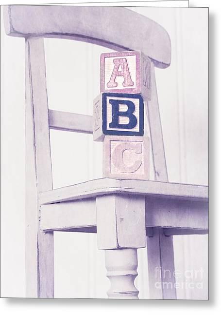 Alphabet Blocks Chair Greeting Card by Edward Fielding