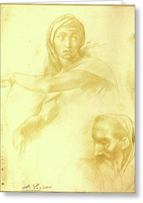 Alphonse Legros After Michelangelo, Study Of Delphic Sibyl Greeting Card by Litz Collection