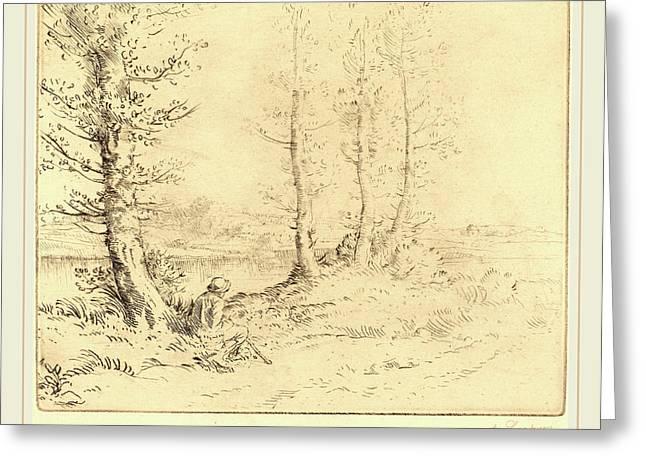 Alphonse Legros, Along The River Le Long De La Rive Greeting Card
