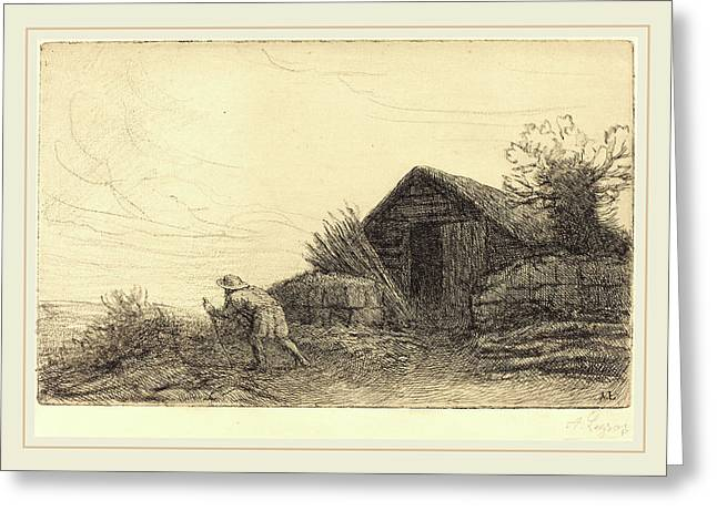 Alphonse Legros, Along The Top Of The Hill Sur Le Haut De Greeting Card by Litz Collection