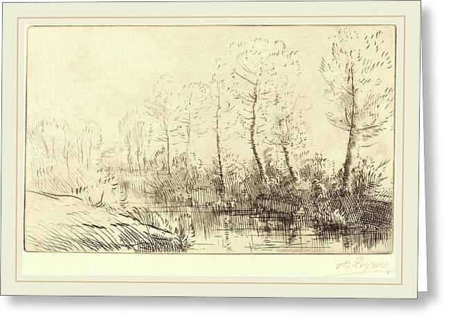 Alphonse Legros, Birch Trees Waters Edge Seen In Morning Greeting Card by Litz Collection