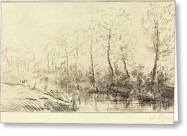 Alphonse Legros, Birch Trees Waters Edge Seen In Morning Greeting Card by Quint Lox