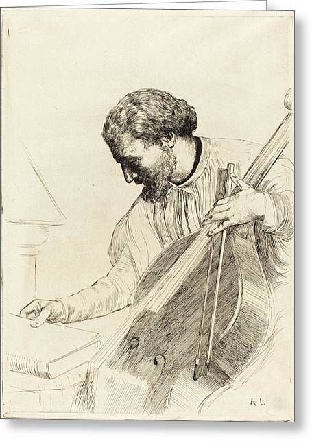 Alphonse Legros, Contre-bass Player Le Joueur De Greeting Card