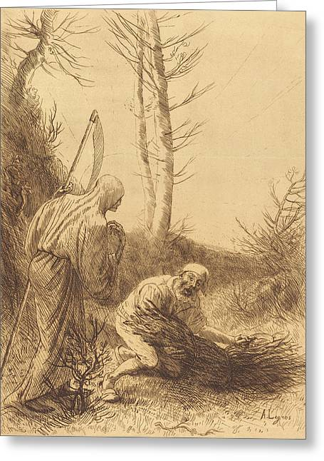 Alphonse Legros, Death And The Woodcutter Greeting Card