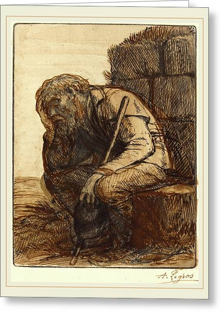 Alphonse Legros, Desperate Man Le Desespere Greeting Card by Litz Collection