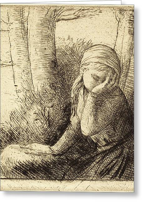 Alphonse Legros, Desperate Young Girl La Jeune Desesperee Greeting Card by Quint Lox