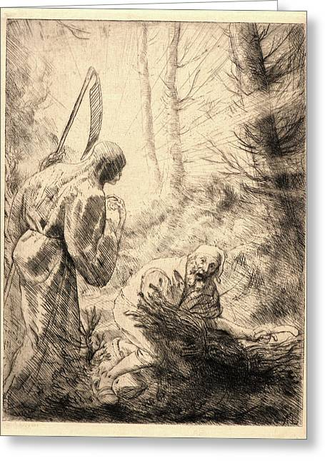 Alphonse Legros French, 1837 - 1911. Death Greeting Card by Litz Collection