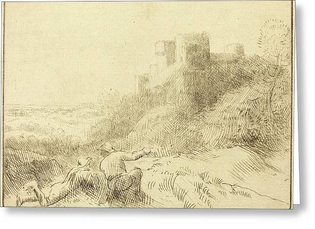 Alphonse Legros, Old Chateau Un Vieux Chateau Greeting Card