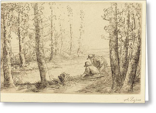 Alphonse Legros, Rest Along The Banks Of The River Repos Au Greeting Card